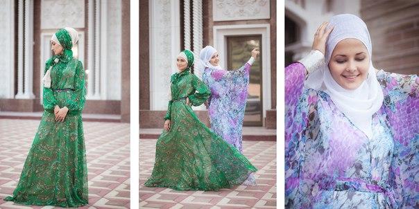 красивые мусульманки в зеленом и бирюзовом платье