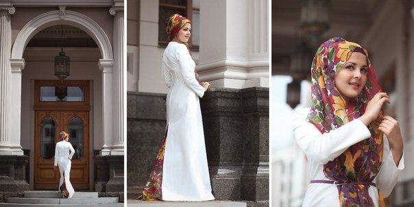 женское белое мусульманское пальто