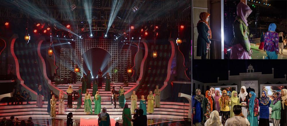 Участницы на сцене Мисс Мира Мусульманка