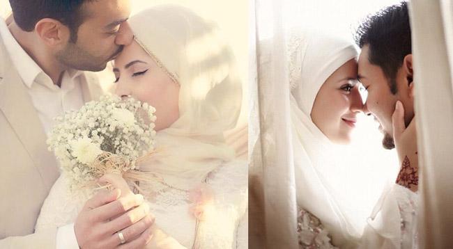 жених целует мусульманскую невесту
