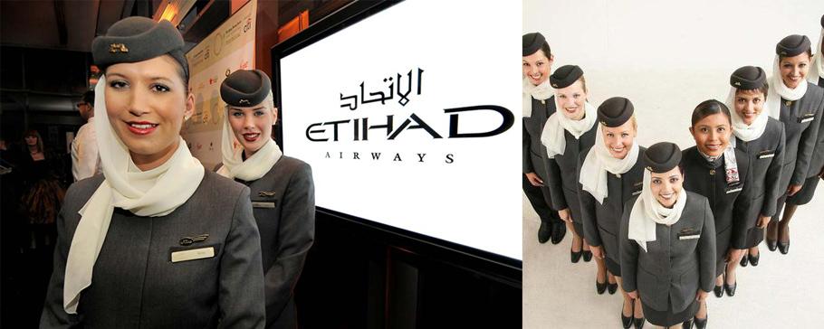 Стюардессы Etihad Airlines (ОАЭ) Авиалинии Объединенных Арабских Эмиратов