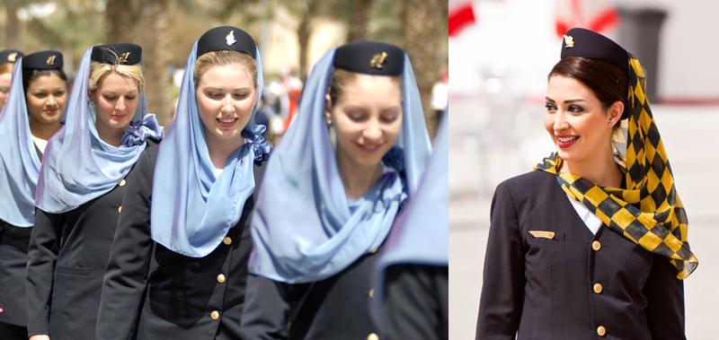 Gulg airlines (Бахрейнские авиалинии) - стюардессы в хиджабе
